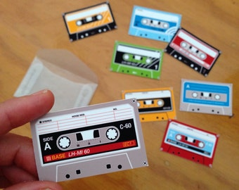 Cassette tape stickers **with blank labels**, set of 8, write your own label