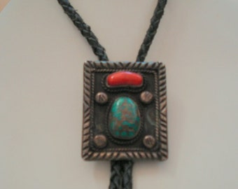 Vintage Native American Turquoise and Coral Sterling Silver Bolo Tie,1970s