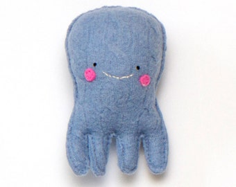 Light Blue Quadropus - Recycled Wool Sweater Plush Toy