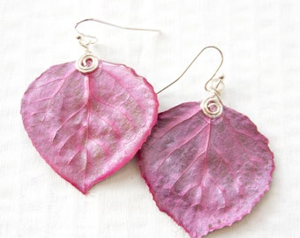 Aspen Leaf Earrings, Bridesmaid Jewelry, Magenta, Nature Jewelry