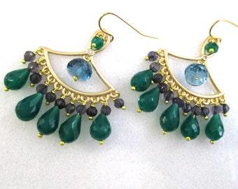 Striking Green Onyx, Iolite, London Blue Topaz Chandelier Earrings in Gold ...