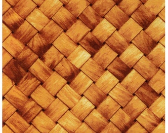 HALF YARD - Photo Realistic Basket Weave, Oxford Cotton - Cosmo Textiles, Japanese Import