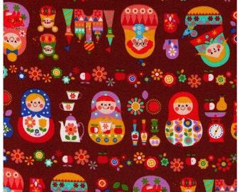 HALF YARD Cosmo Textile - Russian Nesting Dolls on Brown - Matroyshka Dolls, Castle, Mice, Mitten, Teacup - Oxford - Japanese Import