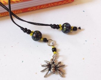 Spider Beaded Bookmark / Black And Yellow Glass Beaded Cotton Cord With Metal Charm/ Handmade For Readers/ Journal Writers/ Book Lovers