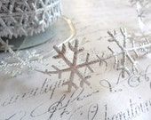 Silver Sparkle Satin Snowflake Winter Ribbon Trim