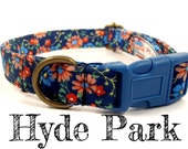 "Blue Floral Dog Collar - Organic Cotton - Antique Brass Hardware - ""Hyde Park"""