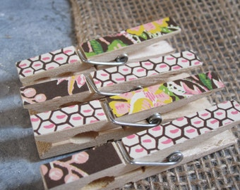 Clothespins - Set of Four Brown and Pink
