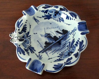 Vintage Ceramic Blue and White Ash Tray From Holland