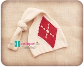 The Boutique Kids---Photo prop---upcycled Holiday Christmas diamond cream red knit hat baby boy gift Newborn