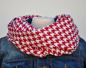 Red and White Houndstooth Infinity Scarf, Flannel Infinity Scarf, Alabama Scarf, Roll Tide, Valentine's Day Scarf