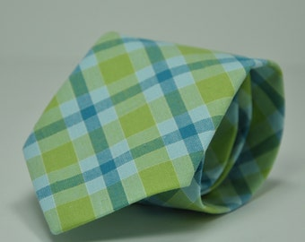 Blue and Green Plaid Men's Necktie - Cotton Necktie - Custom Ties