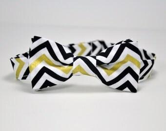 Boy's Bow Tie - Gold Chevron Tie - Black and Gold Striped Bowtie