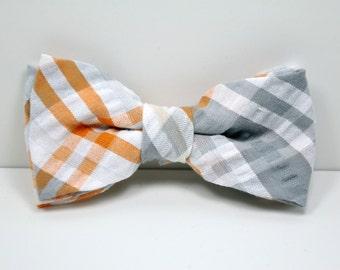 Orange and Gray Plaid Boy's Bow tie - Seersucker Bowtie - Toddler, Baby, Boy, Teen