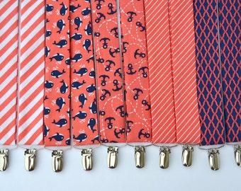 Boy's Coral Suspenders Peach and Navy Wedding Summer Wedding Nautical Suspenders