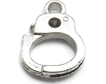 20pc (10 Pair) Handcuff Charms silver tone (S318)
