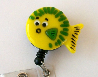 Fused Glass Blowfish Badge Holder (yellow)
