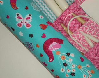 large knitting needle case  -  fancy birds in pinks and turquoise - 36 pockets