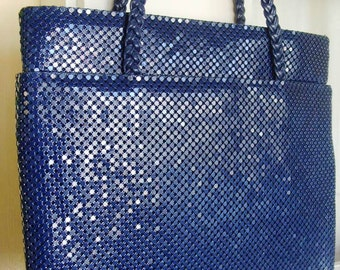Vintage Navy Blue Mesh Purse Handbag Tote