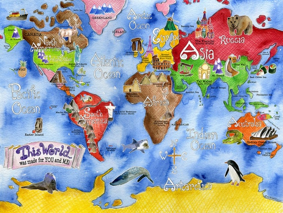 World Map for kids 20 x 28 inch watercolor art nursery poster by Marley Ungaro