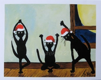 Cat Christmas Cards - Cats Doing Yoga in Santa Hats - Yoga Christmas Cards