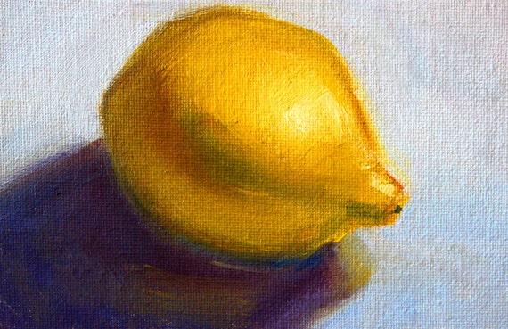 Citron nature morte huile de citron minimaliste sur la toile for Oeuvre minimaliste