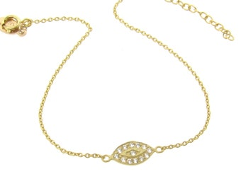 Gold Evil Eye Bracelet With Cubic Zirconia in Gold - As Seen On Kim Kardashian And Kelly Ripa