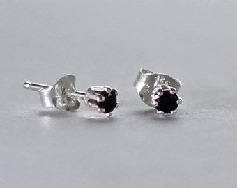 Black Spinel Gemstone Post Earrings, Sterling Silver