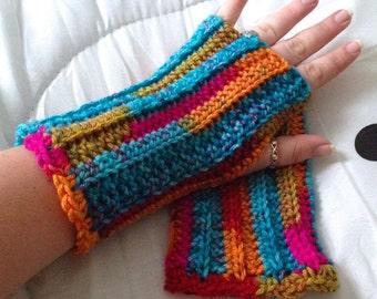 Crocheted Fingerless Gloves - Wristwarmers - Wrist Warmers - Gauntlets - Kaleidoscope - Great for Fall Fashion