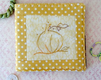 Pumpkin Needlebook Silk Hand Embroidery Pin Keep