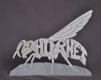 Hornet  Adorable Puzzle Wooden Toy Hand  Cut with Scroll Saw