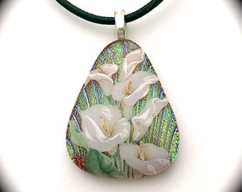 Dichroic Fused Glass Pendant, Calla Lily. for the benefit of animal rescue