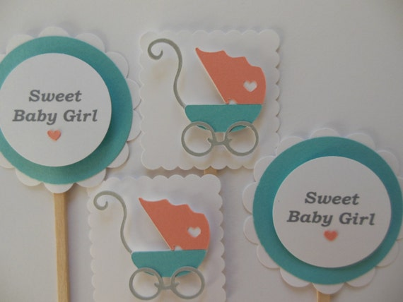 baby carriage toppers coral teal and white girl baby