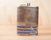 8oz Flask - Stu pattern with anchor and stars - gray, white, blue and antique black