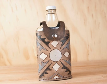Leather and Glass Flask - Vintage Style - 375ml Flask - Handmade Flask - Four Corners Pattern with black, silver, white and antique black