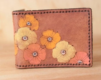 Wallet - Leather Wallet - Bifold Wallet - Poppy Garden pattern with flowers in pink yellow orange antique mahogany - Mens or Womens Wallet