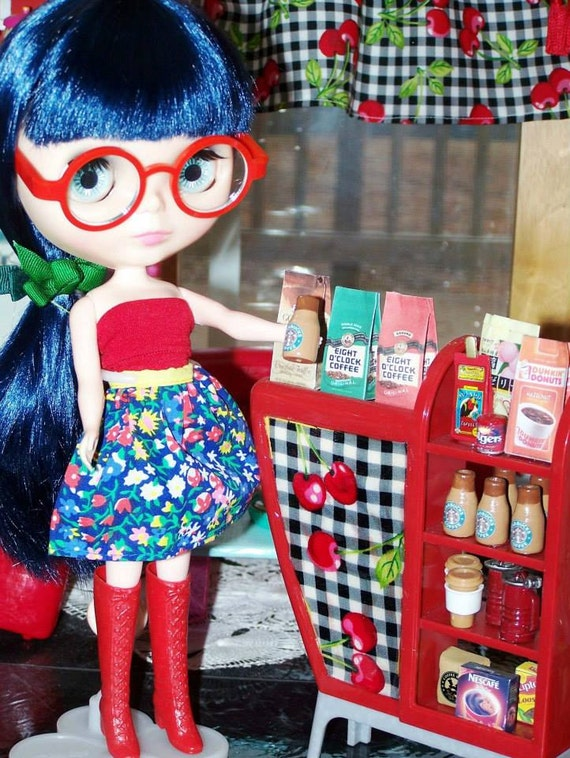 blythe monster high coffee barista bar shelf cabinet by. Black Bedroom Furniture Sets. Home Design Ideas