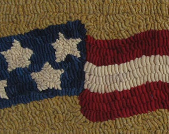 Rug Hooking PATTERN Long May It Wave American Flag Folk Art