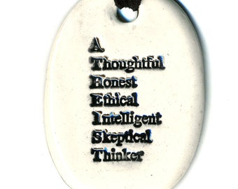 Atheist Ceramic Necklace in White