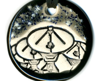 Radio Telescopes Ceramic Necklace in Black and Gray