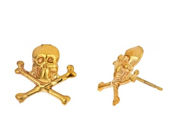 14k yellow or white gold plated small skull stud post earrings. Cute, trendy, under 10, on sale, teen, gift for her, edgy, punk, rocker