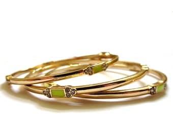 Set of 3 gold plate, rhinestone and lime neon green enamel bangle bracelets. Gift, boho, summer, trendy, art deco, classic, rustic, glamour.