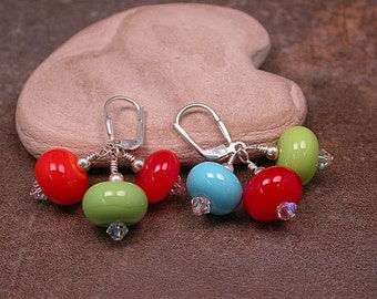 Lampwork Glass Dangle Earrings Bright Colors Red Orange Lime Blue Divine Spark Designs SRA