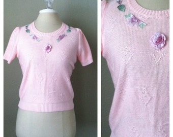 SALE....Vintage 60s baby pink crop sweater / rockabilly / pin up / XS / knit sweater / mad men / kawaii / bubble goth / fairy kei