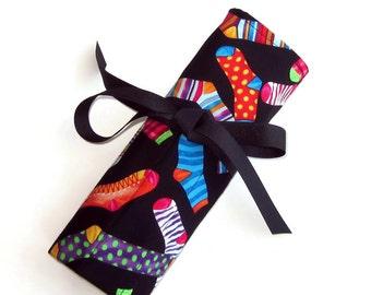 Sock and Roll - Organizer for sock knitting needles, double pointed needles, crochet hooks - Jazzed up Socks
