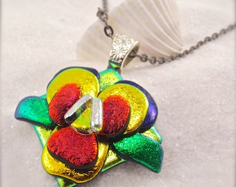 Pansy flower pendant, Fused Dichroic glass jewelry, Hana Sakura, artistic jewelry, Dichroic Pendant, Viola flower, dichroic necklace, fusion