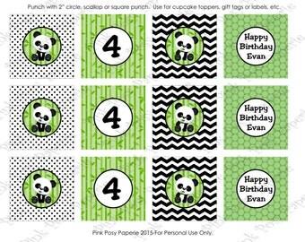 Printable Panda Bear Birthday Cupcake Toppers