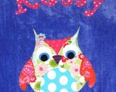 Personalized Large Royal Blue Velour Beach Towel with Cute Owl, Pool Towel, Kids Bath Towel, Camp Towel, College Towel, Baby Towel, Swim
