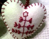 Handmade Wool Blend Felt Scandinavian 3 Branch Christmas Tree Heart Shaped Ornament