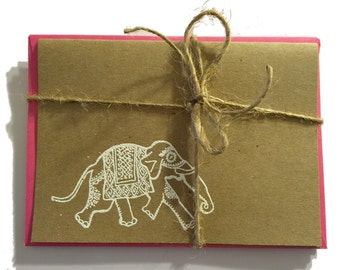 Handmade Kraft Note Cards with Embossed Indian Elephant - White