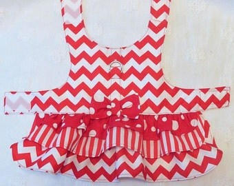 Dog Harness Dress Red Chevron with Red Stripes Red Dots 3 Ruffles